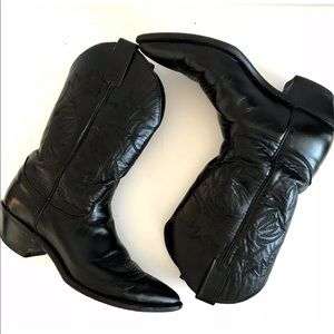 Justin Cowboy Western Boots 8 Black Leather L4903